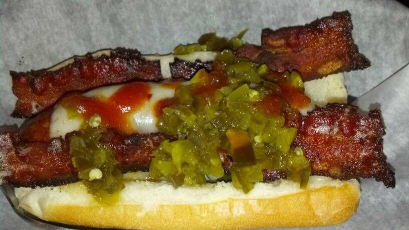 Hot Dog with Bacon, Cheese & Relish